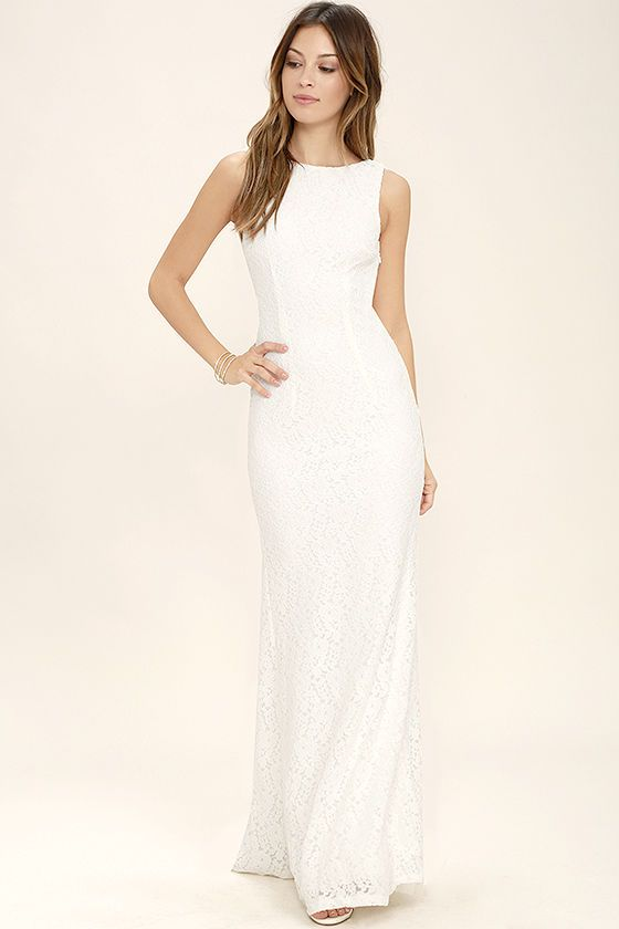 Ephemeral Allure Ivory Lace Maxi Dress | Sexy, Open back top and ...