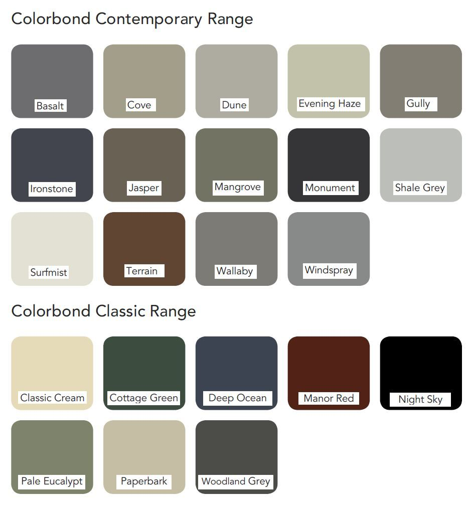 Colorbond roof colours roofcolours l roof colours l for Roof color