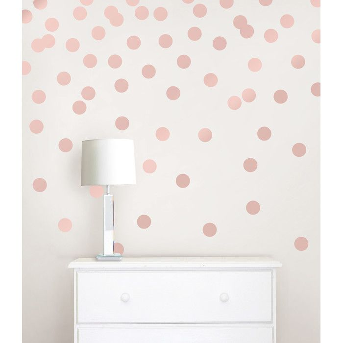 Dots Metallic Wall Sticker Rose Gold Bedroom