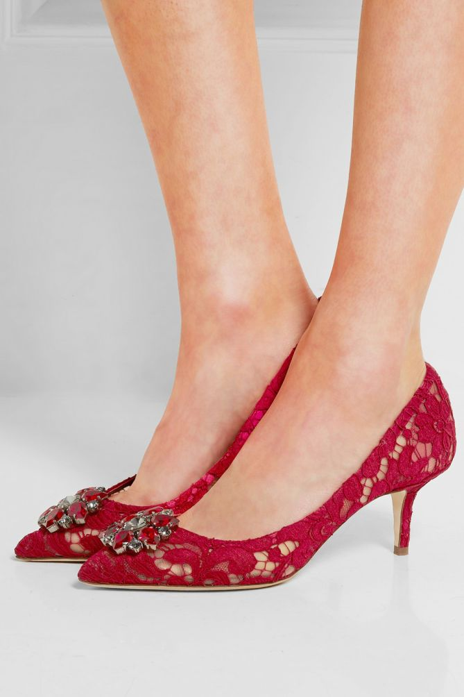 DOLCE & GABBANA Swarovski crystal-embellished corded lace and mesh pumps -  Shoes Post