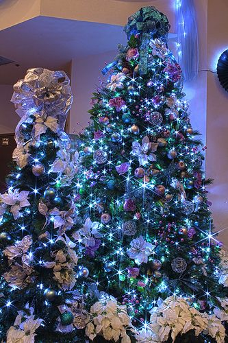 Silver, Purple, and Blue Themed Christmas Tree in LED Lights - blue and silver christmas decorationschristmas tree decorations