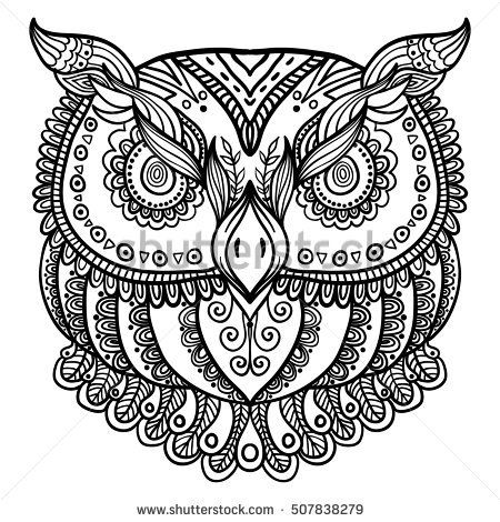 Zentangle Inspired Abstract Owl  Vector Hand Drawn Illustration