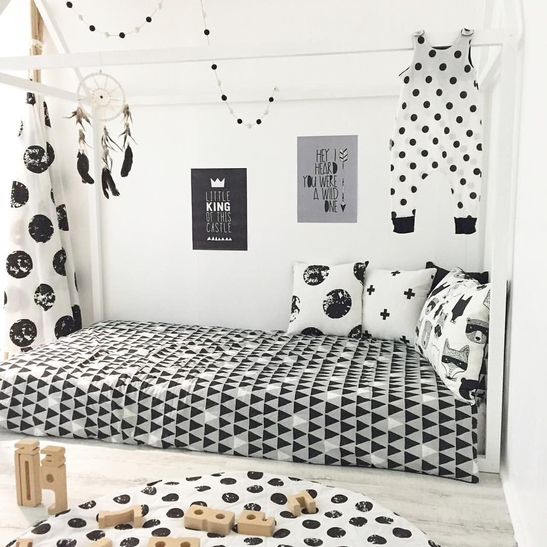 """Zee and Friends on Instagram: """"S P O T S ⚫️ Our most recent room creation featuring some of our favourite monochrome pieces from the Insta-community! Featuring our small white dreamcatcher, full moon teepee & soon to be released play mat & cushions! Tap to checkout where the rest of these great items are from  #zeeandfriends #monochrome #kidsroom"""""""
