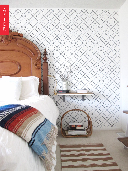Before & After: Stenciled Wall Makes It Modern