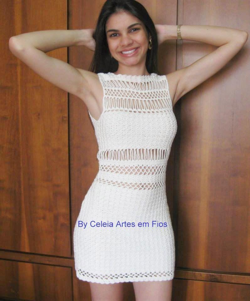 VESTIDOS COM MEIA MANGA … | Vestidos de croche curto