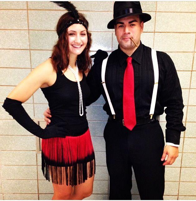 Halloween couple costume, 1920\u0027s flapper