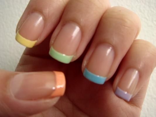 Clear With Different Colored Tips On Each Nail Pastel Colored French Nails French Tip Nail Designs French Nail Designs