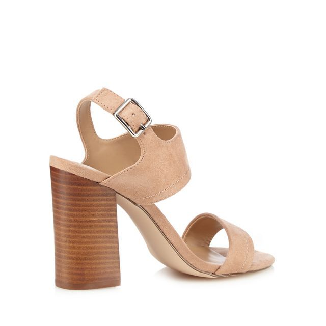 52b6e234d989 Light brown suedette  Peawia  high block heel ankle strap sandals ...
