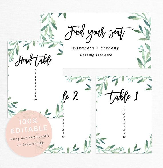 Wedding Seating Chart Template, Editable Seating Chart Printable ...