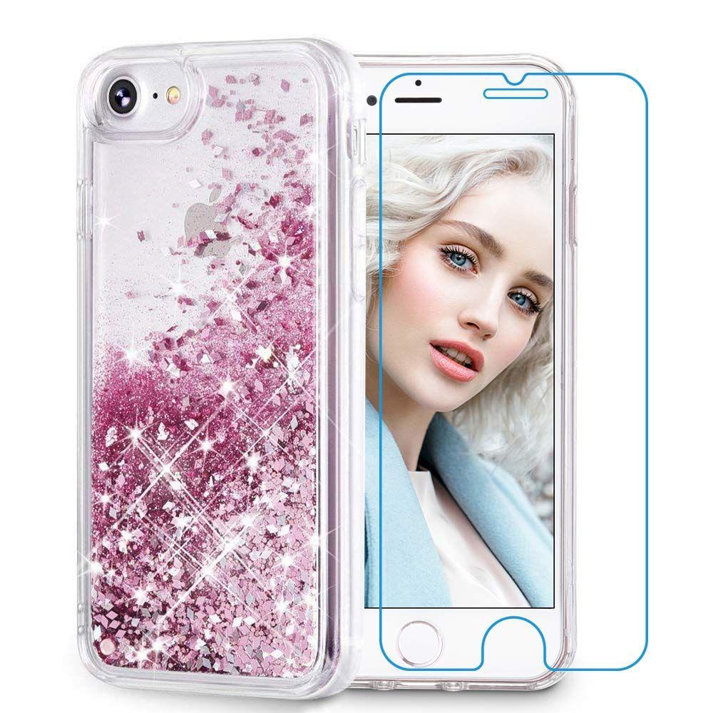 best sneakers 6d1c9 09878 Amazon.com: Maxdara iPhone 8 Case, iPhone 7 Glitter Liquid Women ...