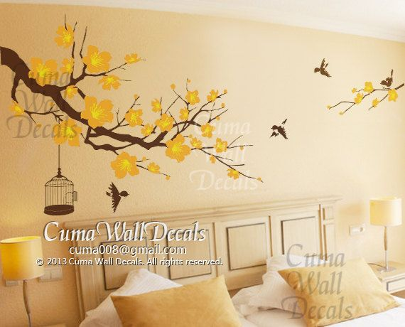Nursery Wall Decal Owl Children Nature Green Tree Wall By Cuma - Yellow wall decals