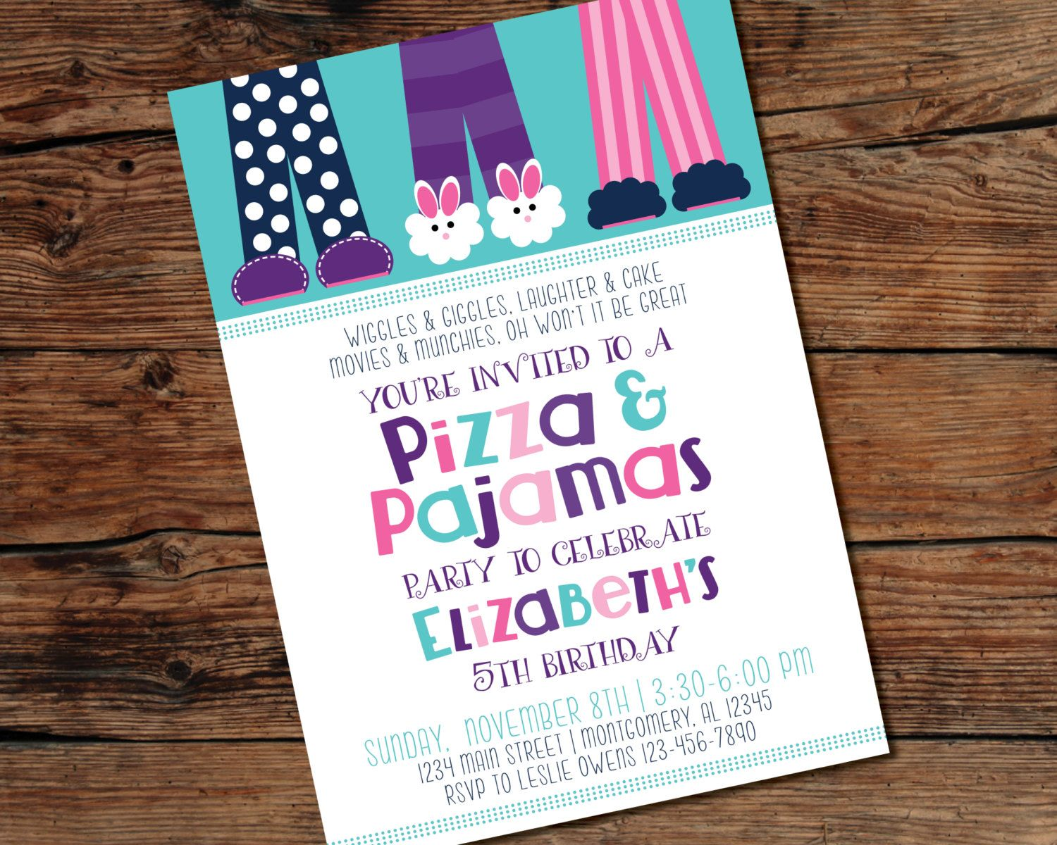 printable pizza and pajamas party invitation digital file
