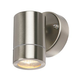 Bronx Brushed Stainless Steel Wall Light 35w Wall Lights Steel Wall Brushed Stainless Steel