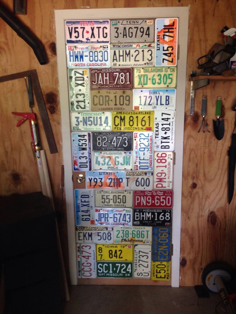 My husband's idea of how to display license plates  It turned out