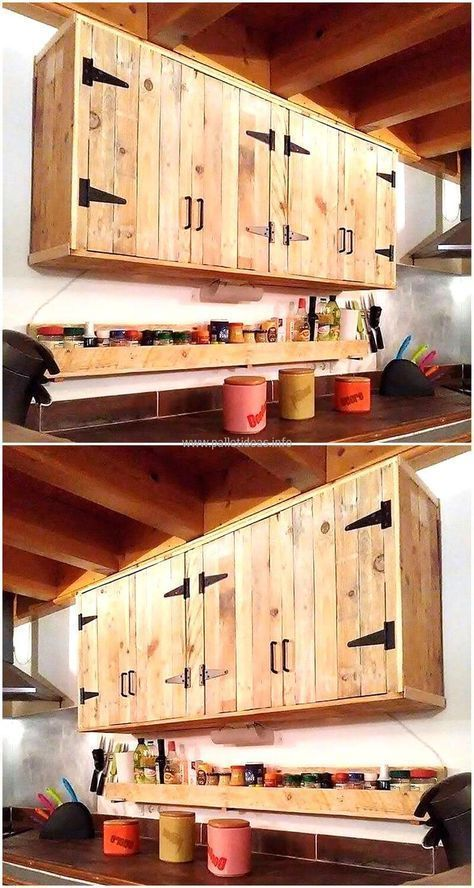 Pallets Made Kitchen Cabinet Idea Is Here The Kitchen Can Be Adorned In The Best Way With The Pers Pallet Kitchen Rustic Kitchen Cabinets Diy Kitchen Cabinets