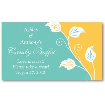 Aqua yellow floral wedding candy buffet gift cards wedding candy aqua yellow floral wedding candy buffet gift cards business card template by wasootch colourmoves