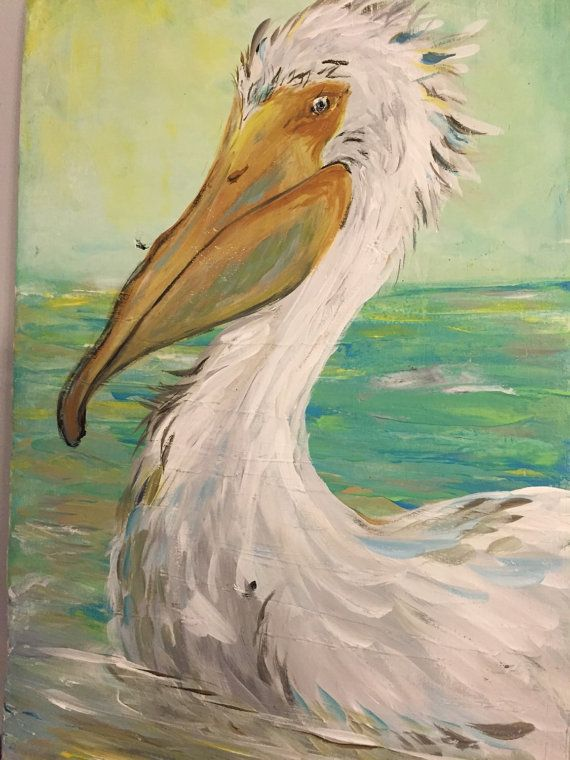 Pelican Painting On Wood 11 5x18 Inches By Soulsisterpallet