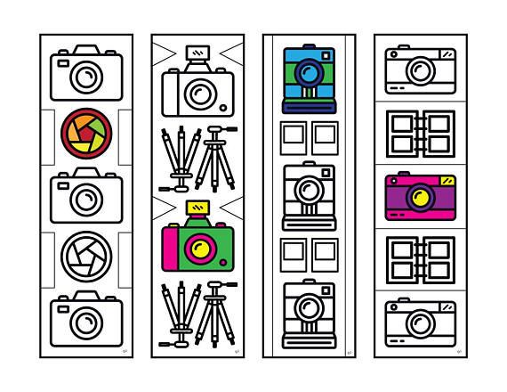 camera bookmarks pdf zentangle coloring page pinterest retro