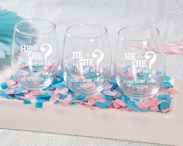 Personalized gender reveal printed stemless wine glass baby personalized gender reveal printed stemless wine glass baby white or kraft gift box available negle Images