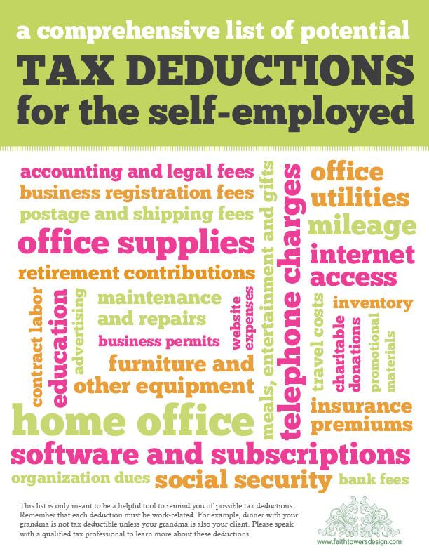 A List Of Tax Deductions  Very Handy  Work Ideas  Resources