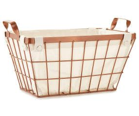 Metallic Wire Bin With Copper Liner Copper Basket Wire Laundry