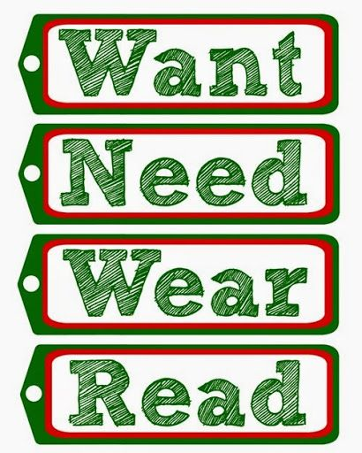My Very Educated Mother: Want–Need–Wear–Read Printable Gift Tags | Christmas gift tags free ...