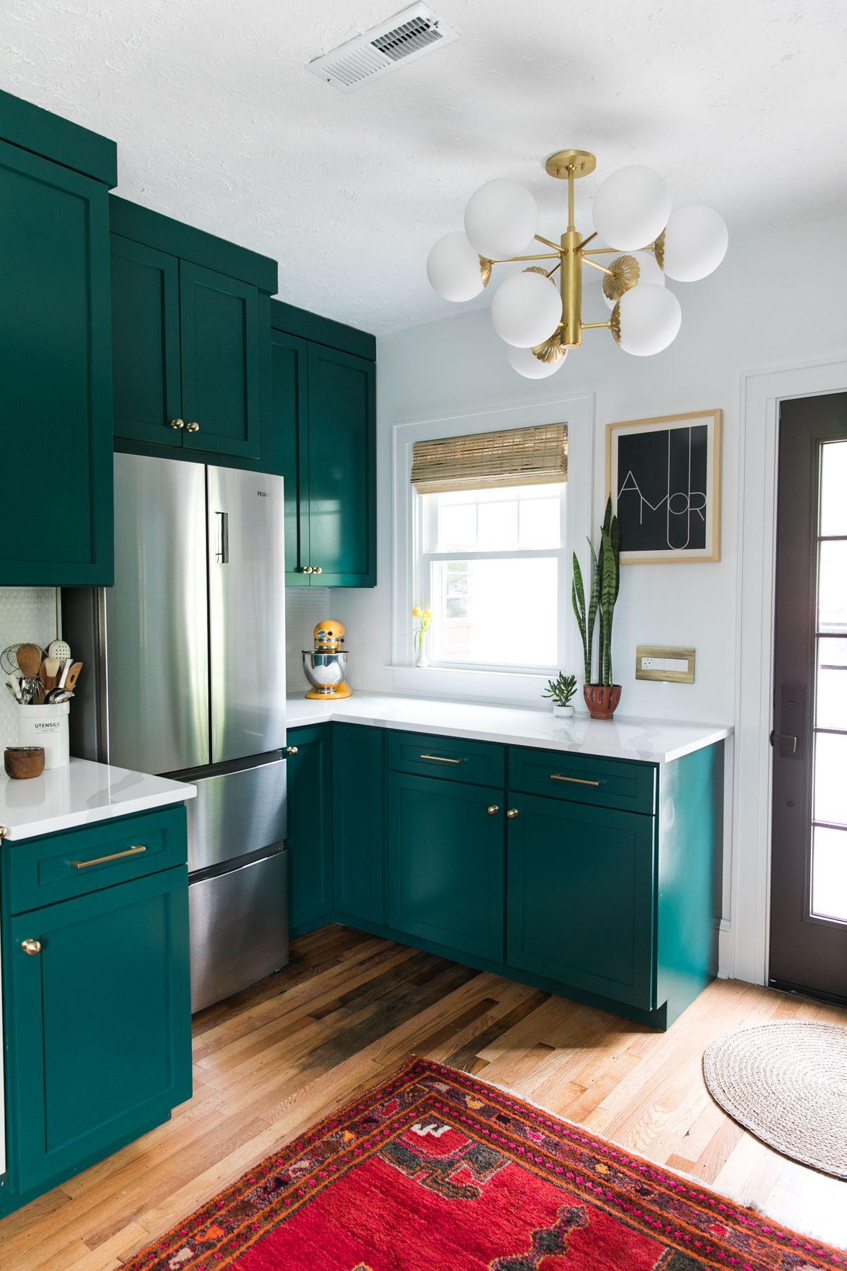 One Room Challenge Green Kitchen Glamazon The Reveal Jessica Brigham Dark Green Kitchen Green Kitchen Cabinets Home Kitchens