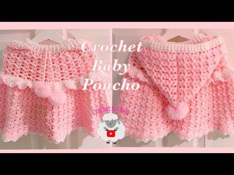 LEFT Handed Crochet baby poncho | hooded crochet cape | girls 6M - 3.5 yrs - Crochet for Baby 196 - YouTube #babyponcho