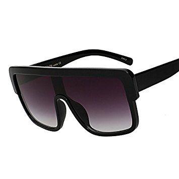Tianliang04vintage Lunettes de soleil femmes de dessus plat Lunettes de soleil Lunettes femelle carré large Oculos haute qualité UV400, Black black lens