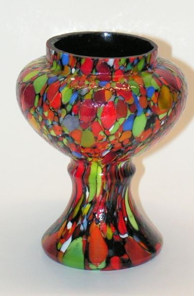 Vintage Enamel Mosaic Spatter Glass Vase (aka cool bong)
