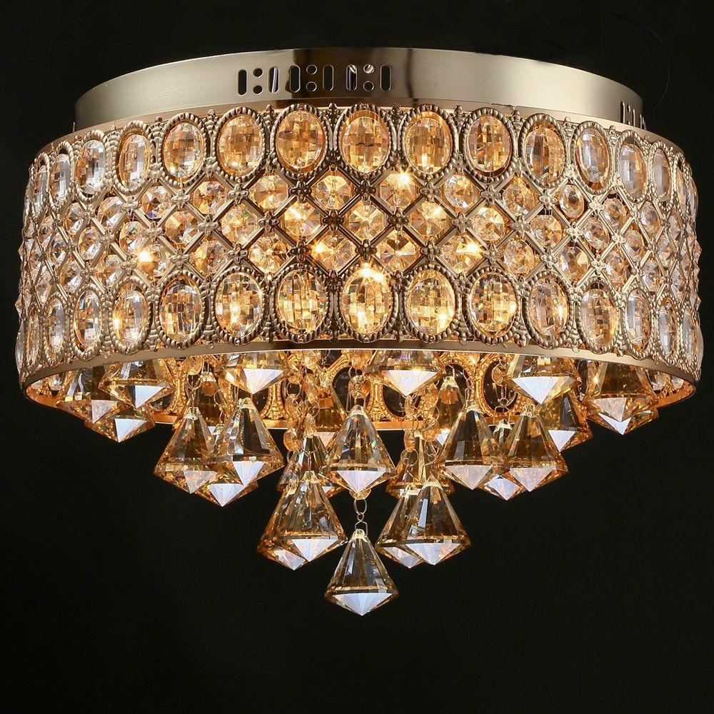 Tomda Flush Mount French Gold Ceiling Crystal Chandelier Lights 4