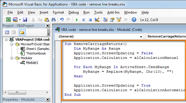 Paste The Code To The Vba Module Excel Tutorials Excel Coding
