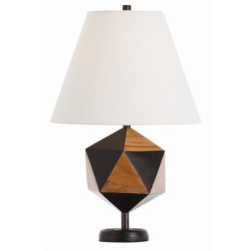 Arteriors Geo Pentagon Ebony/Light Walnut Wood Lamp #lamp #geometric