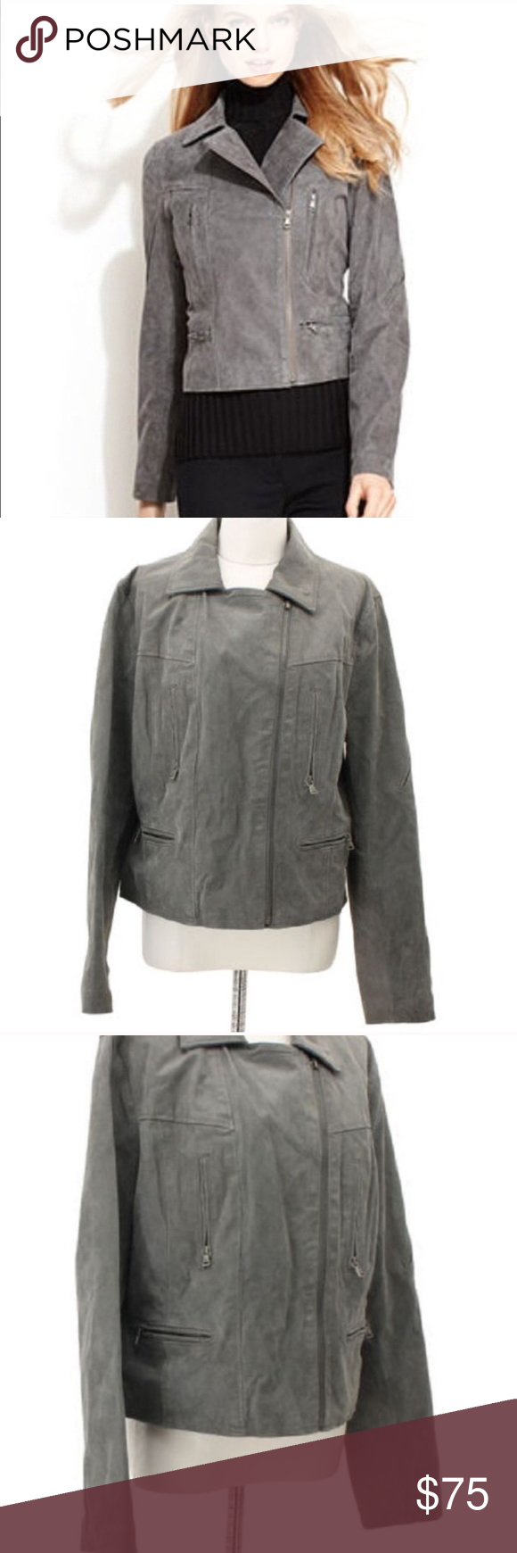 LEVI'S gray genuine leather suede moto jacket Suede