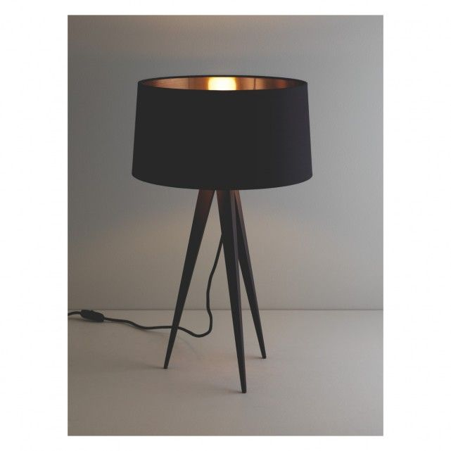 YVES Black Metal Tripod Table Lamp Base | Buy Now At Habitat UK