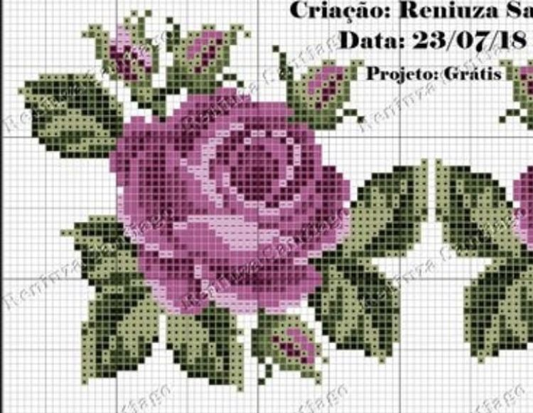 Pin De Sarinha Em Ponto Cruz Flores Com Imagens Rosa Ponto