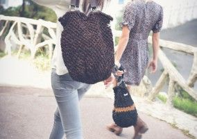 Hand crocheted leather bag by Mode Kako