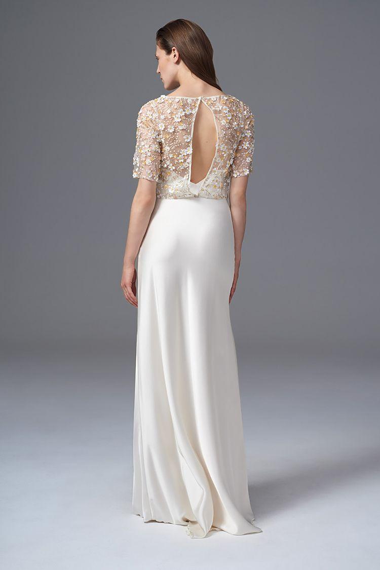 Best vintage wedding dress designers  THE RAF FULLY HAND BEADED KEYHOLE BACK JACKET AND CLASSIC IRIS SLIP