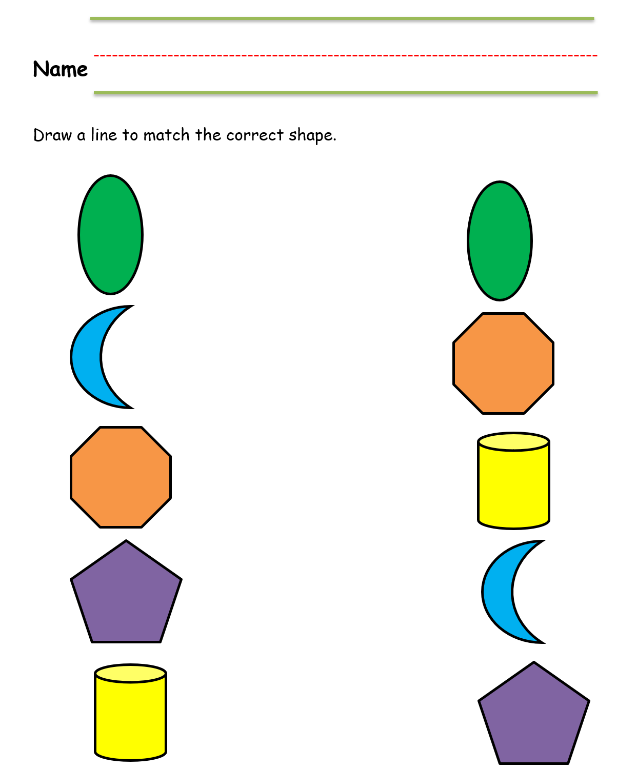 Kindergarten Worksheet Matching Shapes Color In