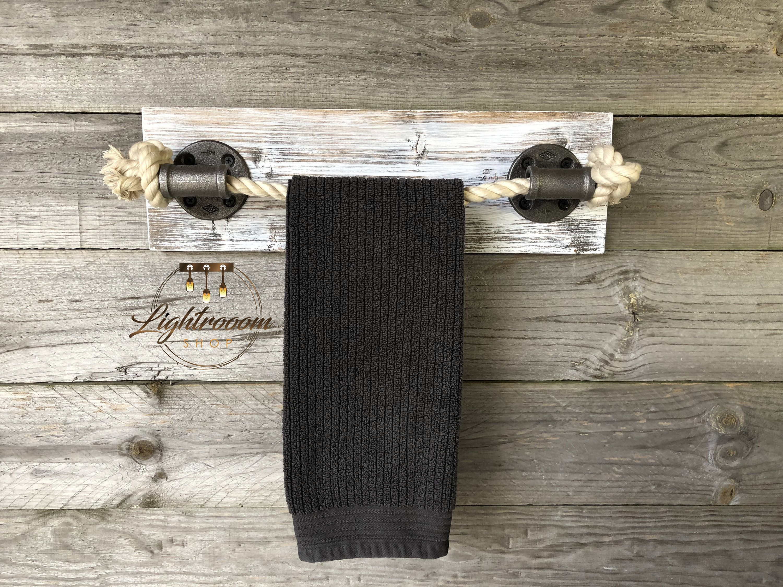 Whitewash Wood Rope Towel Holder Nautical Design Towel Bar