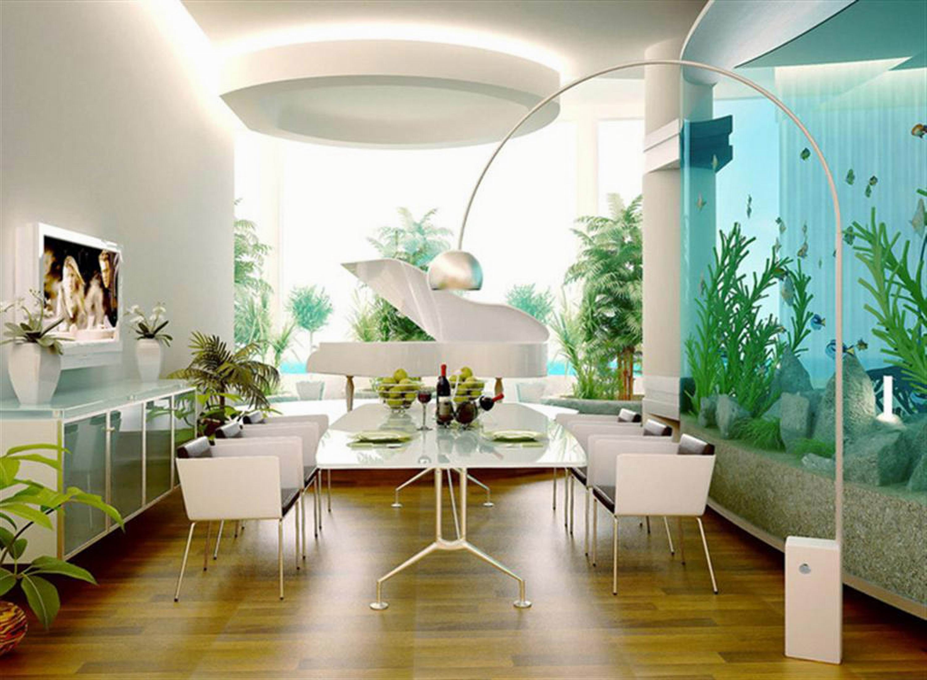modern contemporary open dining room with garden view interior download design and decoration big aquascape as