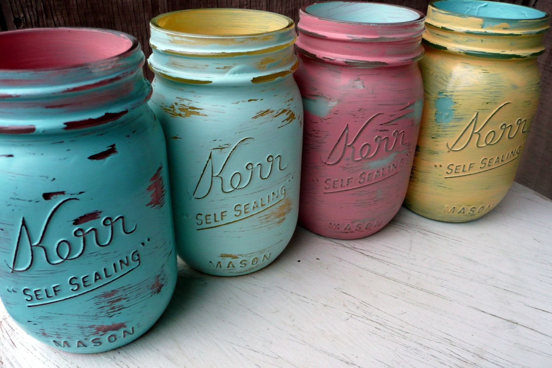 DECOR SALE painted shabby chic mason jars by BeachBlues on Etsy.