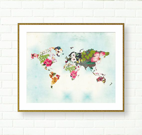 Floral world map print travel nursery tropical vanity art office floral world map print travel nursery tropical vanity art office wall decor gumiabroncs Gallery