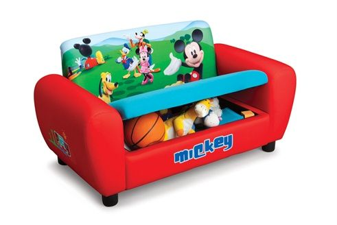 Canape Mickey Rouge Toddler Furniture Upholstered Couch Kids Sofa