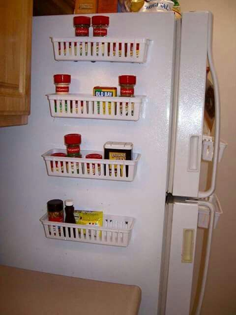 40 organization and storage hacks for small kitchens    u003e stick magnetic spice racks to the side of your refridgerator pin by courtney mcallister on organization   pinterest      rh   pinterest com