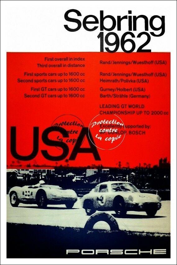AUTO:1962 PORSCHE SEBRING Rf129-VINTAGE POSTER REPRINT ...