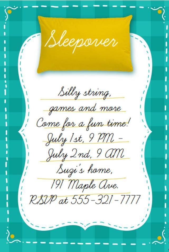 Customize a Free, Printable Slumber Party Invitation: Sleepover ...