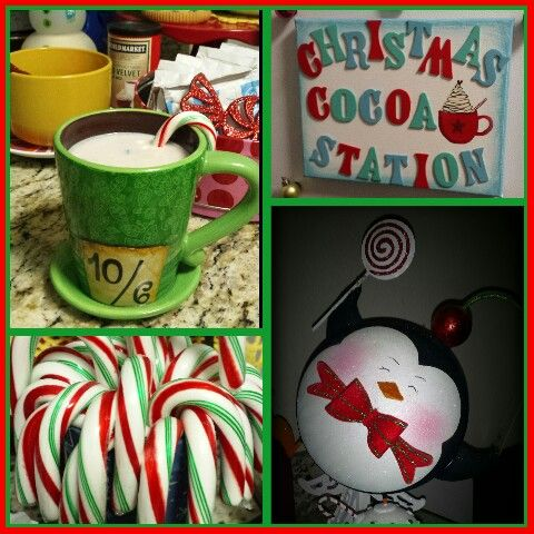 Christmas Cocoa Station-my idea this year to use up all the hot Cocoa I have. Add extras to display like candy canes, sprinkles and fun mugs to use!