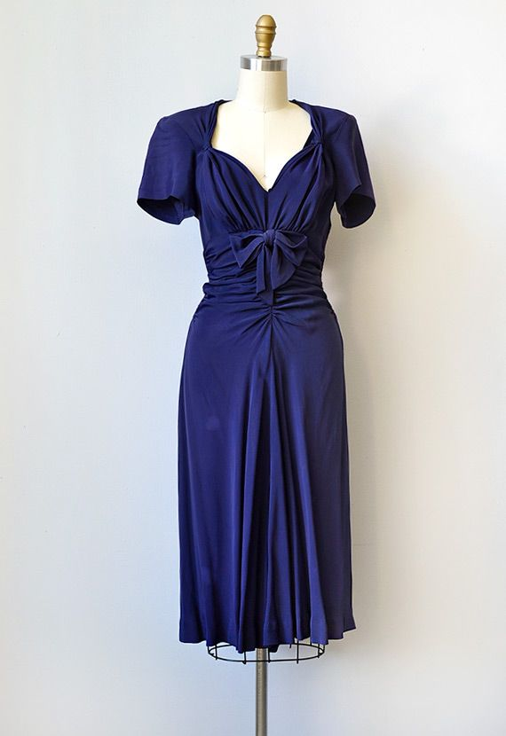 1940s Dress Silky Stars Vintage 40s Dress: Vintage 1940s Blue Dress With Bows
