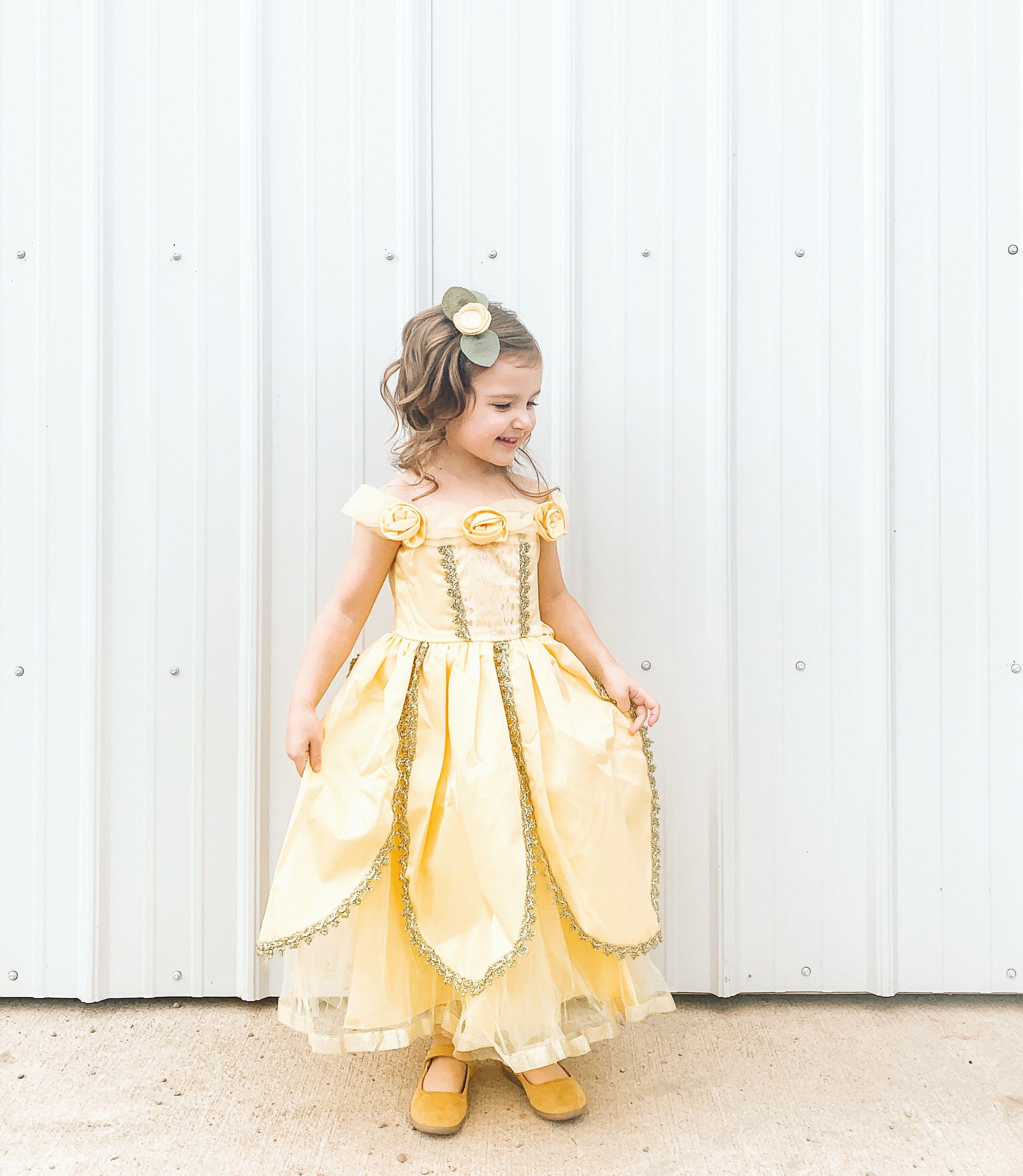 ReliBeauty Little Girls Layered Princess Belle Costume Dress Up